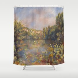 Lakeside Landscape by Renoir Shower Curtain