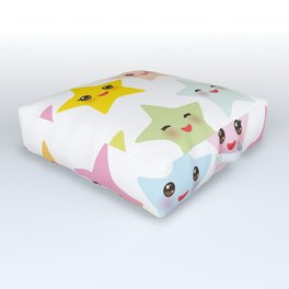 Kawaii stars pattern, face with eyes, pink green blue purple yellow Outdoor Floor Cushion