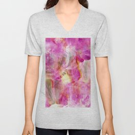 Abstracted Bearded Iris Unisex V-Neck