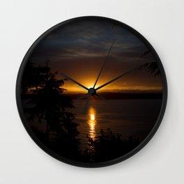 Puget Sound Sunset Wall Clock