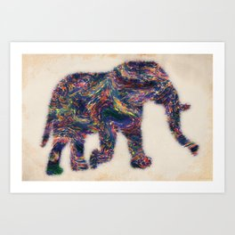 Painted Elephant - Abstract Digital Animal Painting Art Print