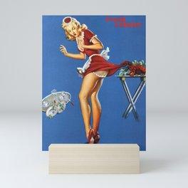 Fresh Lobster! - Satirical Pin Up Girl Waitress Motif Mini Art Print
