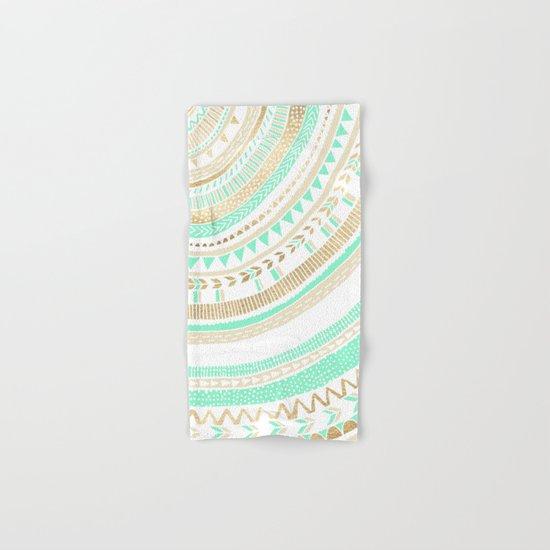 Mint + Gold Tribal Hand & Bath Towel