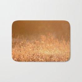 Golden grass field in the summer mountain, sunset wildflowers Bath Mat