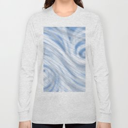 Blue Stripe on Blue Swirl Long Sleeve T-shirt