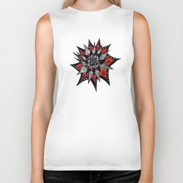 Spiked Abstract Flower In Red And Black Biker Tank