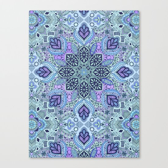 Navy Blue, Mint and Purple Boho Pattern  Canvas Print