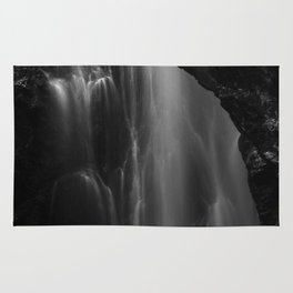 Black and white waterfall long exposure Rug