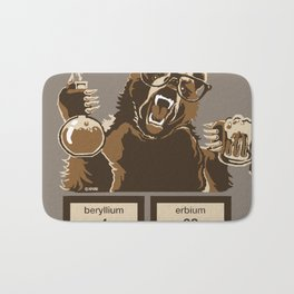 Funny chemistry bear discovered beer Bath Mat