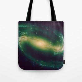 Green galaxy milky way stars pattern Tote Bag