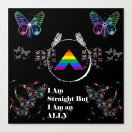 I am Straight But I Am an Ally - Black Canvas Print