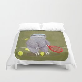 Sloths Are Bad At Things- Kevin the Tennis Star Duvet Cover