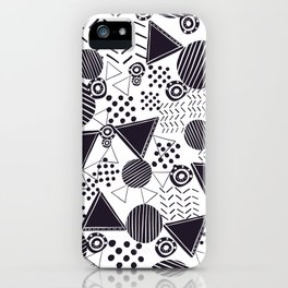 Black and White Geometric Shapes Pattern iPhone Case
