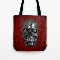 terminator Tote Bags featuring Terminator Monochrome by Leslie Philipp