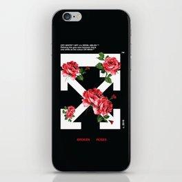 Broken Roses Off White Cross Arrows iPhone Skin