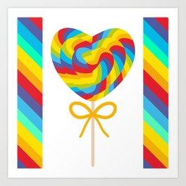 Valentine's Day Heart shaped candy lollipops with bow, colorful spiral candy cane with rainbow Art Print