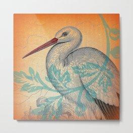 Stork & Decoration Metal Print