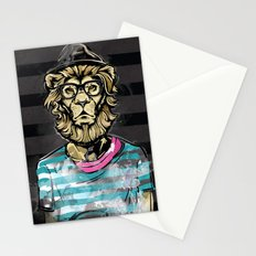 Hipster Lion on Black Stationery Cards