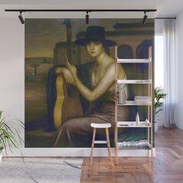 Classical Masterpiece 'La Guitarrista' by Julio Romero de Torres Wall Mural