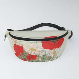 A country garden flower bouquet -poppies and daisies Fanny Pack