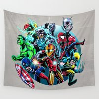 heroes Wall Tapestries featuring Super Heroes by Carrillo Art Studio
