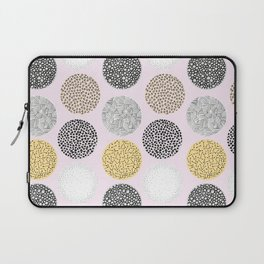 Yellow, White, Gray, Pink and Black Circle Print Laptop Sleeve