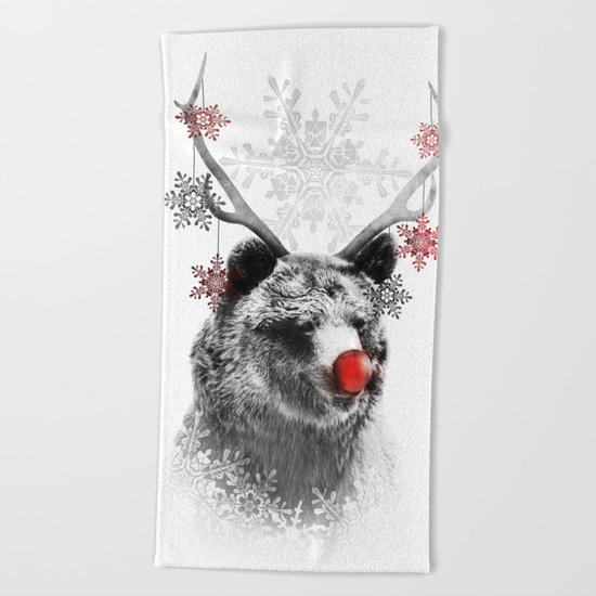 Rudolph the Bear Beach Towel