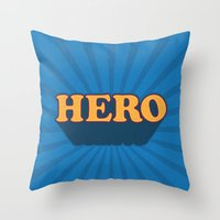 hero Throw Pillows featuring Hero by Word Quirk
