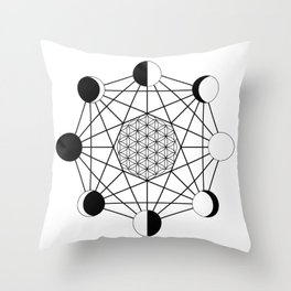 moon phase crystal grid Throw Pillow