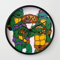 ninja turtles Wall Clocks featuring Ninja Turtles by Hannah Bolotin