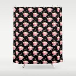 Valentine's Day coffee art on black Shower Curtain