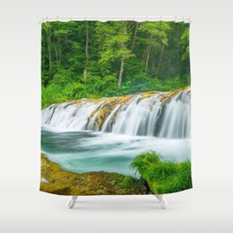 Harmonica Waterfall Yamanouchi Japan Ultra HD Shower Curtain