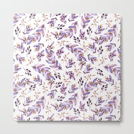 Blush pink lavender watercolor hand painted floral pattern Metal Print