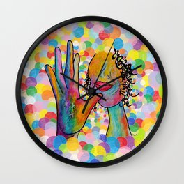 ASL for MOTHER on a Bright Bubble Background Wall Clock