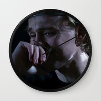 tom hiddleston Wall Clocks featuring Prince Hal - Tom Hiddleston by Kate Dunn