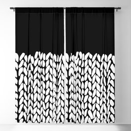 Half Knit  Black Blackout Curtain