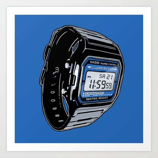 Casio F-105 Digital Watch Art Print