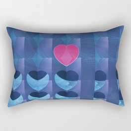 Fractal Art- Heart Art- Pink Heart- Blue Heart-U Know It- Childrens Art-Love Rectangular Pillow