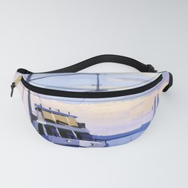 Seascape with a ship at the pier. Fanny Pack