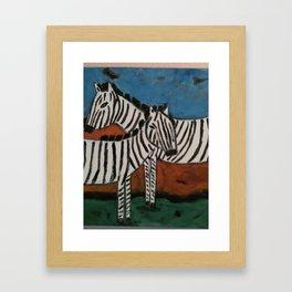 Crossing Zebras Framed Art Print
