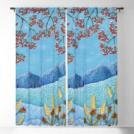 Winter Mountain Colorful Fields Blackout Curtain