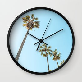Tropical Palm Trees, Palm Tree Leaf, California Dream, Miami Beach, Summer Travel, Beach Photography, Pastel Colors, Looking Up To The Sky Wall Clock
