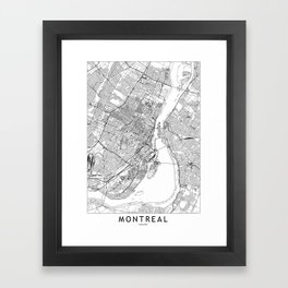 Montreal White Map Framed Art Print