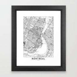 Montreal White Map Framed Art Print