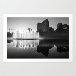 Kansas City Bloch Union Station Fountain at Sunrise - Black and White Art Print