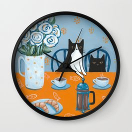 Cats and a French Press Wall Clock