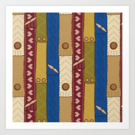 Scarves Knitted Buttoned Art Print