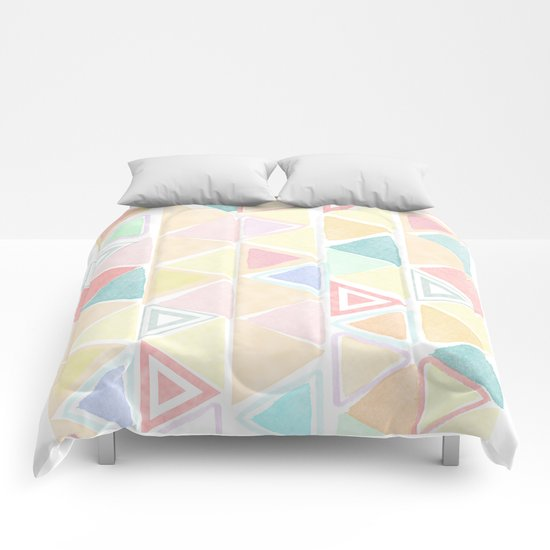 Triangle watercolor fantasy Comforters