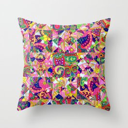 60's Crown of Thorns Quilt Throw Pillow