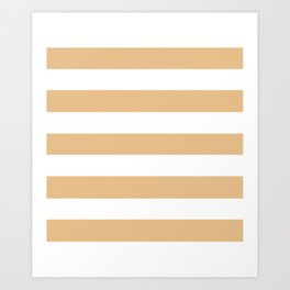 Pale gold - solid color - white stripes pattern Art Print